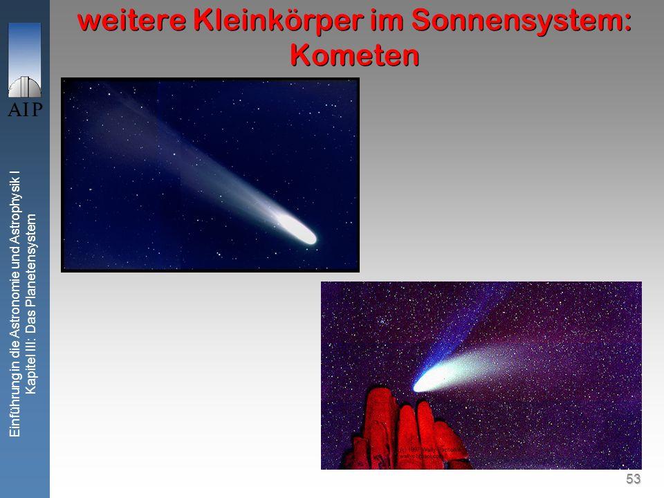 53 Einführung in die Astronomie und Astrophysik I Kapitel III: Das Planetensystem weitere Kleinkörper im Sonnensystem: Kometen