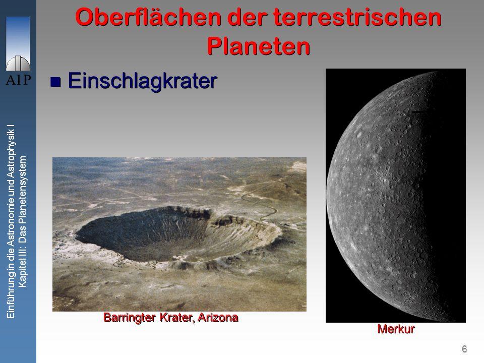 6 Einführung in die Astronomie und Astrophysik I Kapitel III: Das Planetensystem Oberflächen der terrestrischen Planeten Merkur Barringter Krater, Arizona Einschlagkrater