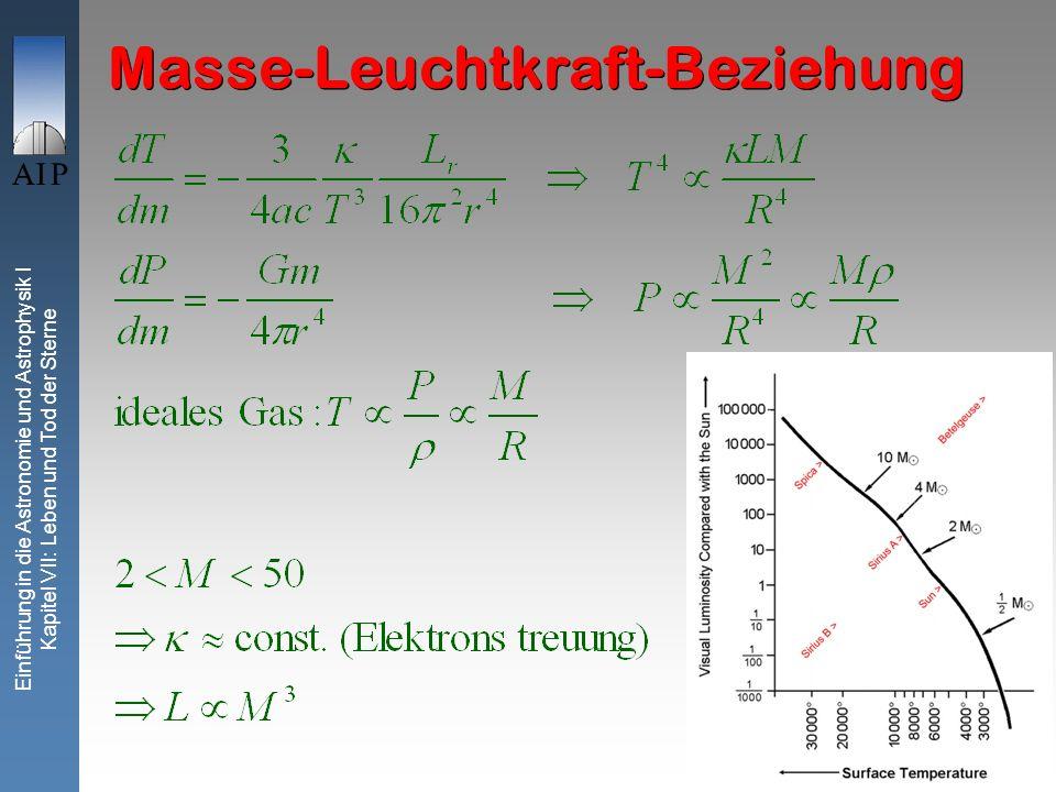 3 Einführung in die Astronomie und Astrophysik I Kapitel VII: Leben und Tod der Sterne Masse-Leuchtkraft-Beziehung