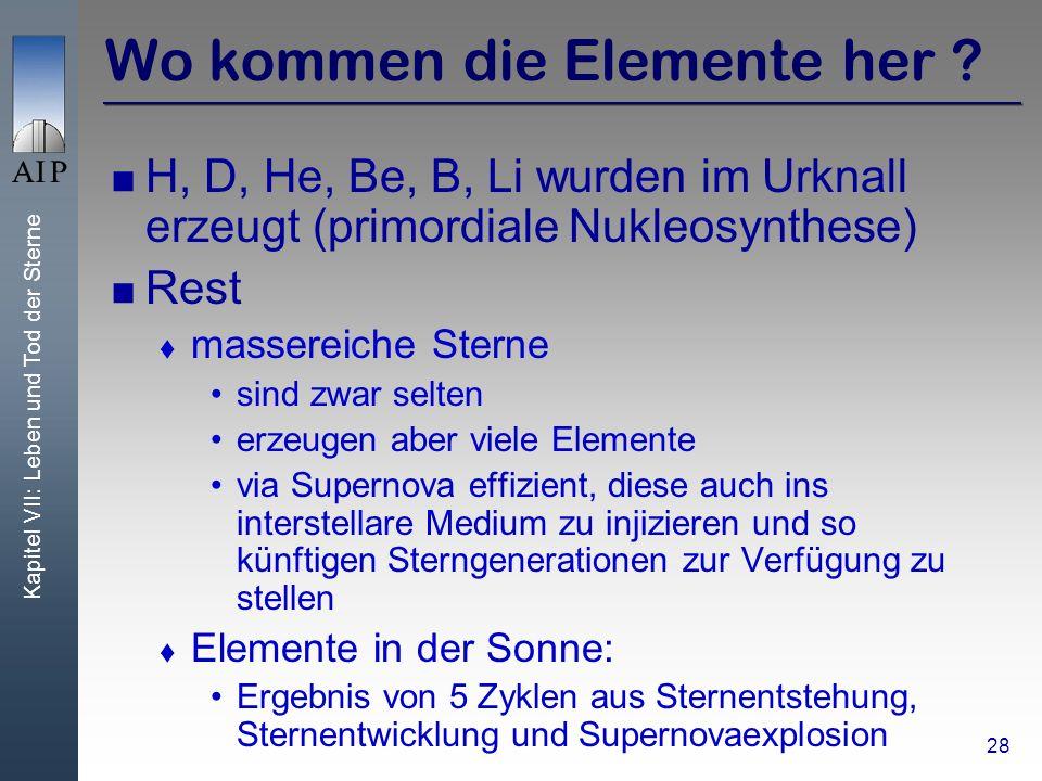 Kapitel VII: Leben und Tod der Sterne 28 Wo kommen die Elemente her ? H, D, He, Be, B, Li wurden im Urknall erzeugt (primordiale Nukleosynthese) Rest
