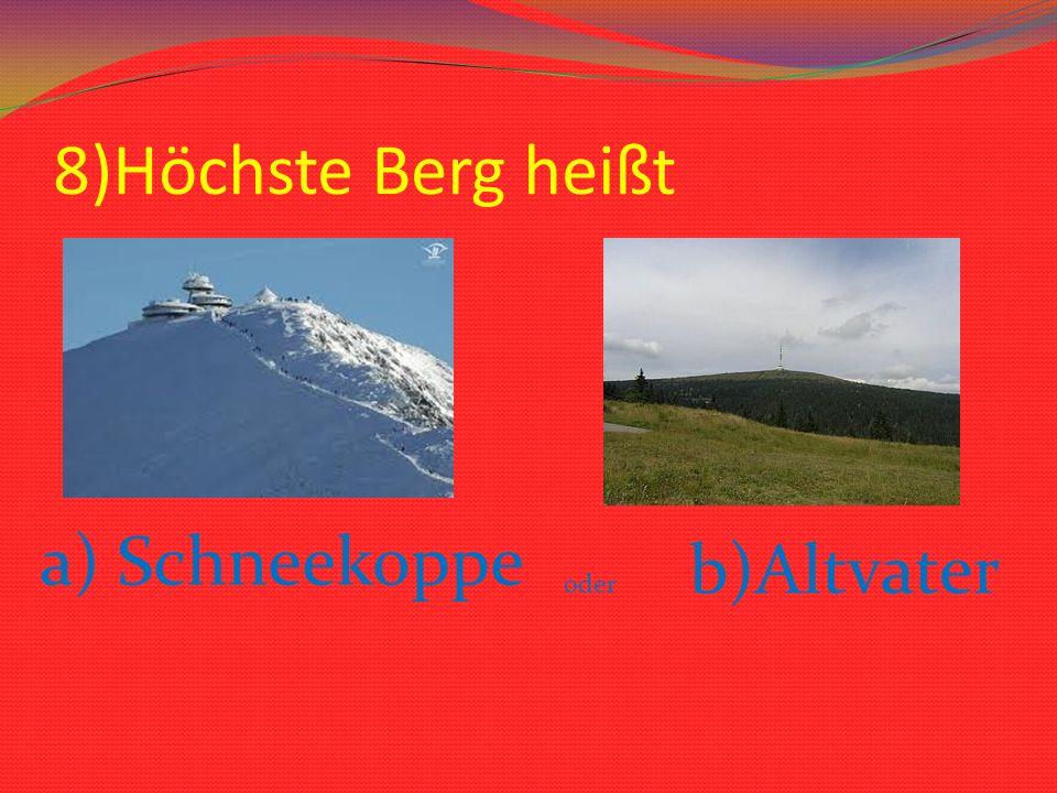 8)Höchste Berg heißt a) Schneekoppe b)Altvater oder