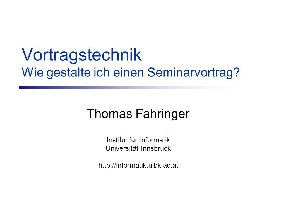 Vortragstechnik Wie gestalte ich einen Seminarvortrag.