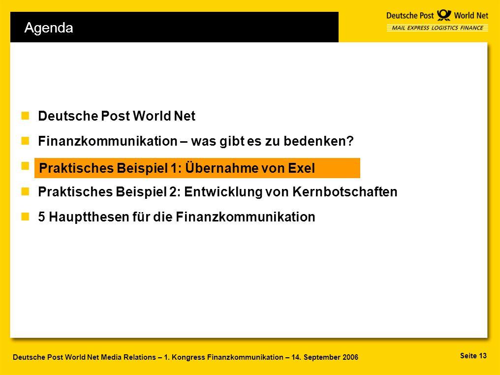 Seite 13 Deutsche Post World Net Media Relations – 1. Kongress Finanzkommunikation – 14. September 2006 Agenda nDeutsche Post World Net nFinanzkommuni