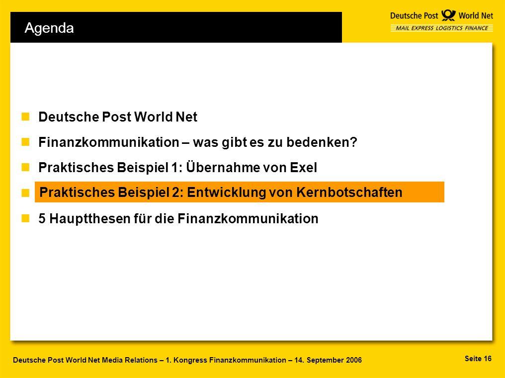 Seite 16 Deutsche Post World Net Media Relations – 1. Kongress Finanzkommunikation – 14. September 2006 Agenda nDeutsche Post World Net nFinanzkommuni