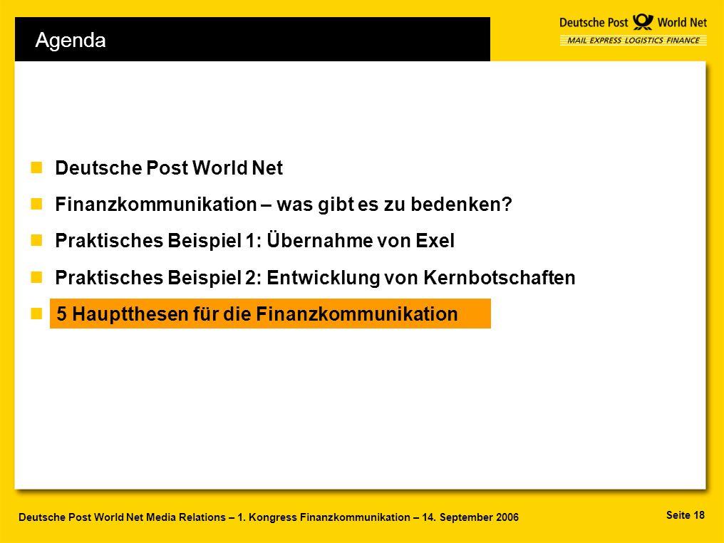 Seite 18 Deutsche Post World Net Media Relations – 1. Kongress Finanzkommunikation – 14. September 2006 Agenda nDeutsche Post World Net nFinanzkommuni