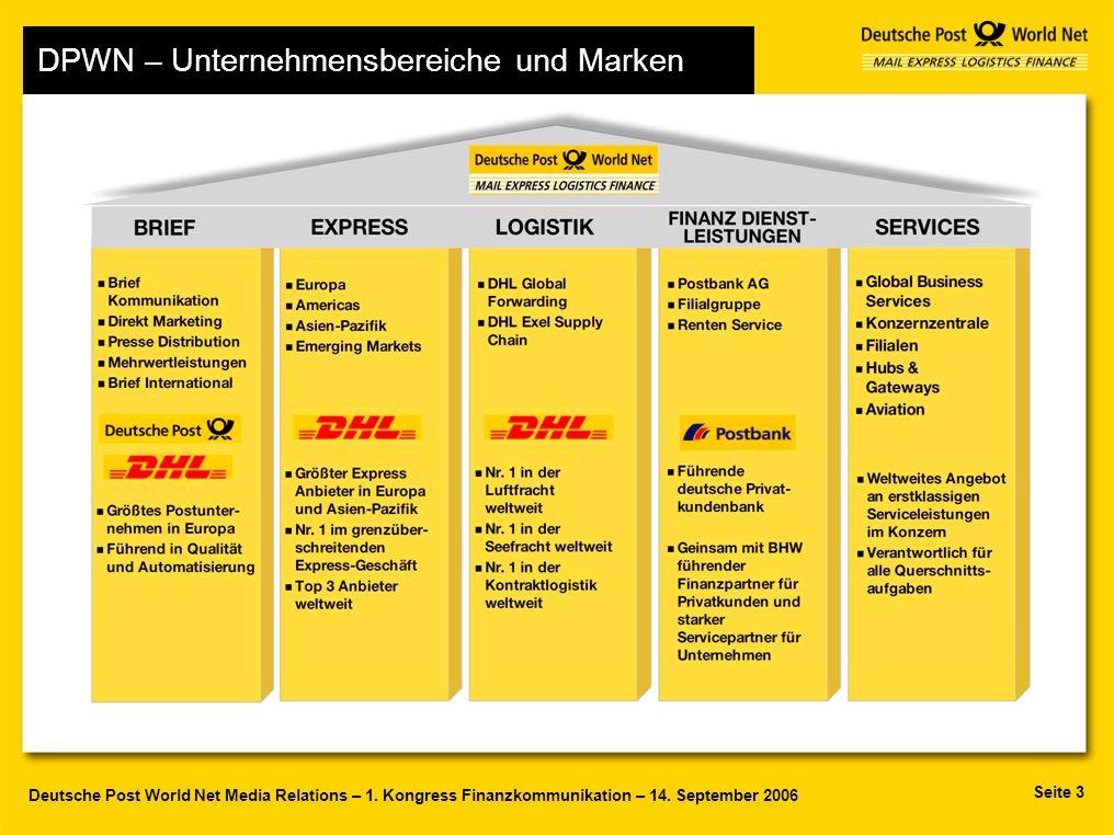 Seite 3 Deutsche Post World Net Media Relations – 1. Kongress Finanzkommunikation – 14. September 2006 Deutsche Post World Net - Structure DPWN – Unte