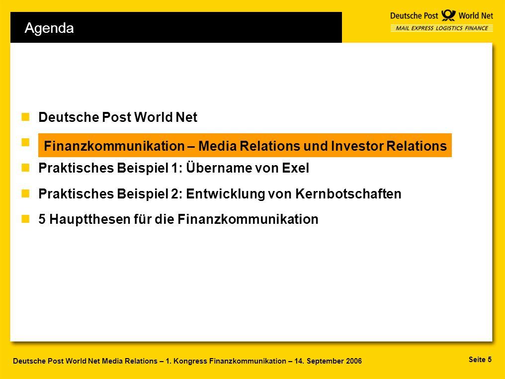 Seite 5 Deutsche Post World Net Media Relations – 1. Kongress Finanzkommunikation – 14. September 2006 Agenda nDeutsche Post World Net nF nPraktisches