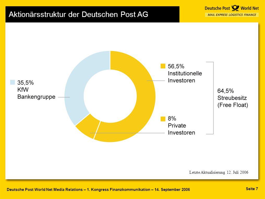 Seite 7 Deutsche Post World Net Media Relations – 1. Kongress Finanzkommunikation – 14. September 2006 Letzte Aktualisierung 12. Juli 2006 Aktionärsst