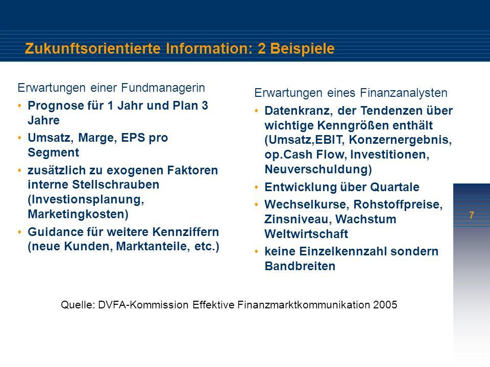 7 Zukunftsorientierte Information: 2 Beispiele Erwartungen einer Fundmanagerin Prognose für 1 Jahr und Plan 3 Jahre Umsatz, Marge, EPS pro Segment zusätzlich zu exogenen Faktoren interne Stellschrauben (Investionsplanung, Marketingkosten) Guidance für weitere Kennziffern (neue Kunden, Marktanteile, etc.) Erwartungen eines Finanzanalysten Datenkranz, der Tendenzen über wichtige Kenngrößen enthält (Umsatz,EBIT, Konzernergebnis, op.Cash Flow, Investitionen, Neuverschuldung) Entwicklung über Quartale Wechselkurse, Rohstoffpreise, Zinsniveau, Wachstum Weltwirtschaft keine Einzelkennzahl sondern Bandbreiten Quelle: DVFA-Kommission Effektive Finanzmarktkommunikation 2005