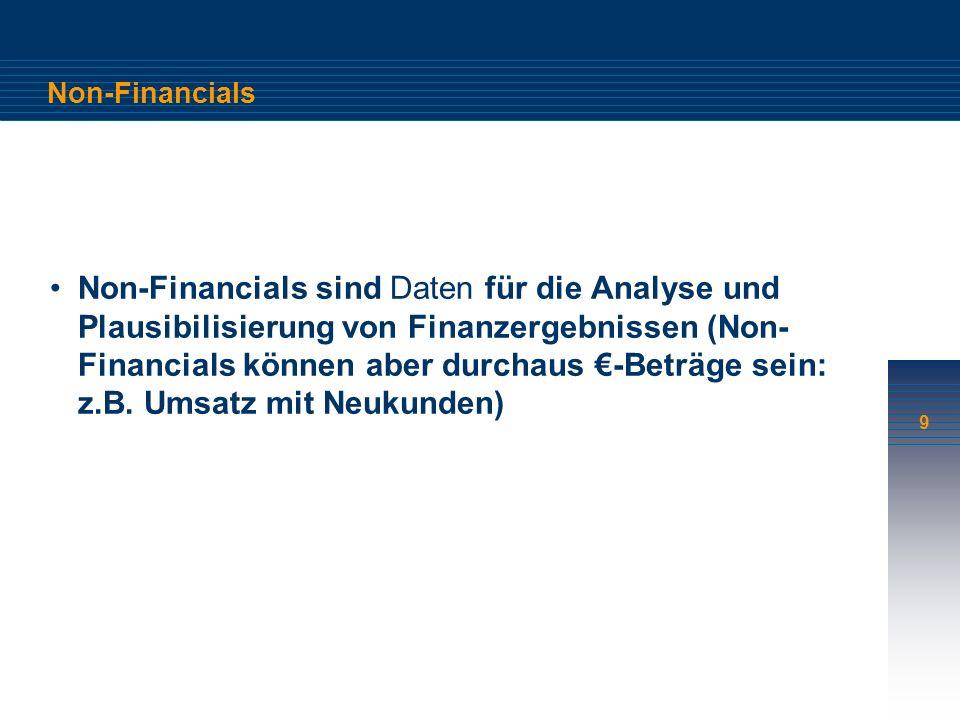 9 Non-Financials Non-Financials sind Daten für die Analyse und Plausibilisierung von Finanzergebnissen (Non- Financials können aber durchaus -Beträge sein: z.B.