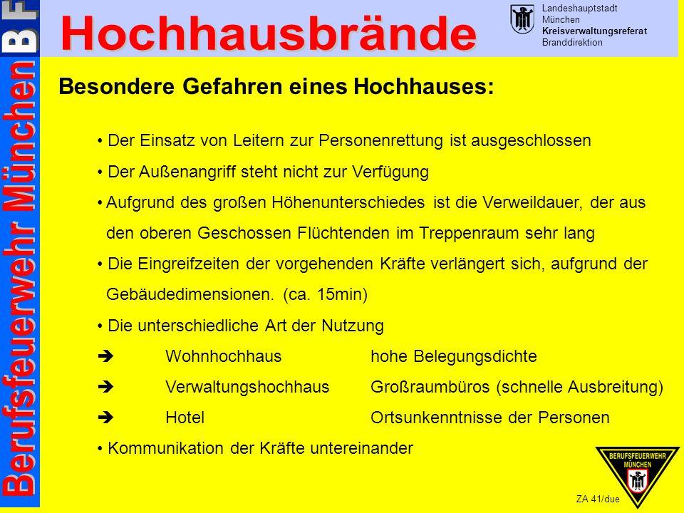 Landeshauptstadt München Kreisverwaltungsreferat Branddirektion ZA 41/due Aufgabenzuordnung Löschzugeinsatz: Staffelführer Auf der Anfahrt: rüstet sich aus mit Maskenbüchse, Feuerwehrleine, 1.