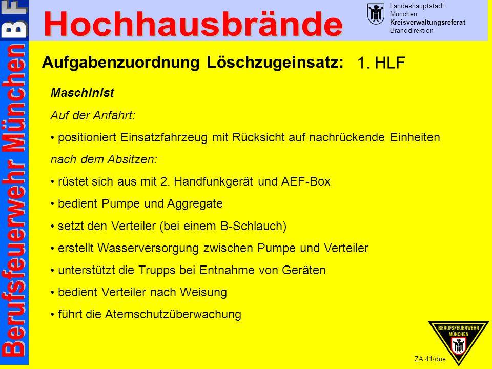 Landeshauptstadt München Kreisverwaltungsreferat Branddirektion ZA 41/due Aufgabenzuordnung Löschzugeinsatz: Maschinist Auf der Anfahrt: positioniert Einsatzfahrzeug mit Rücksicht auf nachrückende Einheiten nach dem Absitzen: rüstet sich aus mit 2.