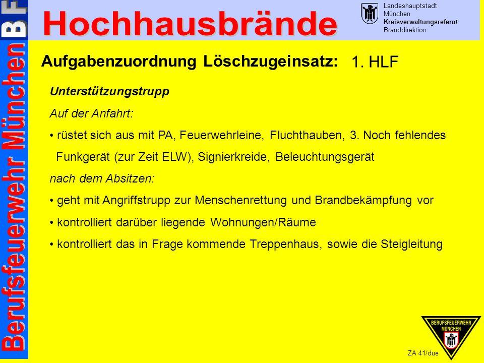 Landeshauptstadt München Kreisverwaltungsreferat Branddirektion ZA 41/due Aufgabenzuordnung Löschzugeinsatz: Unterstützungstrupp Auf der Anfahrt: rüstet sich aus mit PA, Feuerwehrleine, Fluchthauben, 3.