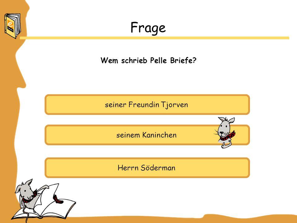 seiner Freundin Tjorven seinem Kaninchen Herrn Söderman Frage Wem schrieb Pelle Briefe?