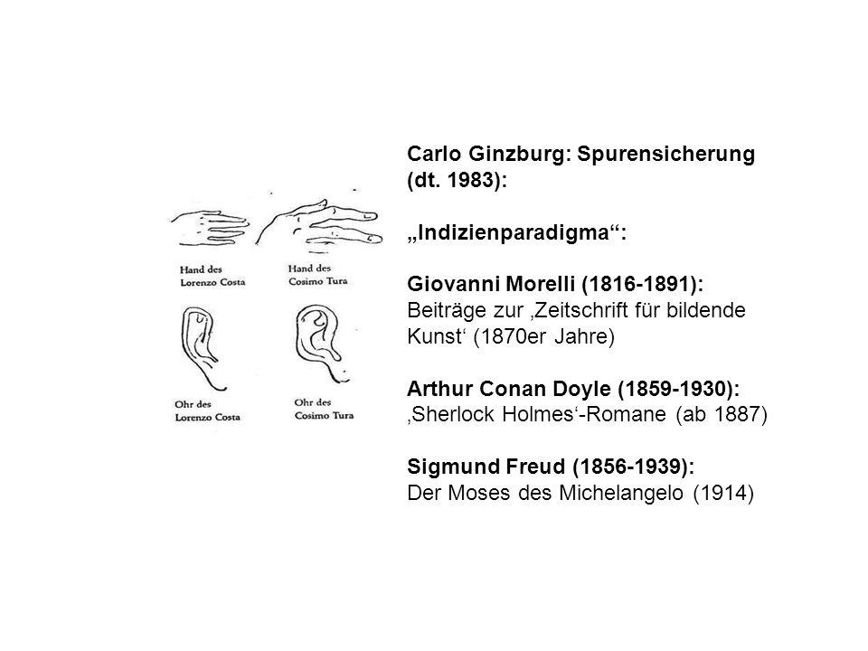 Carlo Ginzburg: Spurensicherung (dt. 1983): Indizienparadigma: Giovanni Morelli (1816-1891): Beiträge zur Zeitschrift für bildende Kunst (1870er Jahre