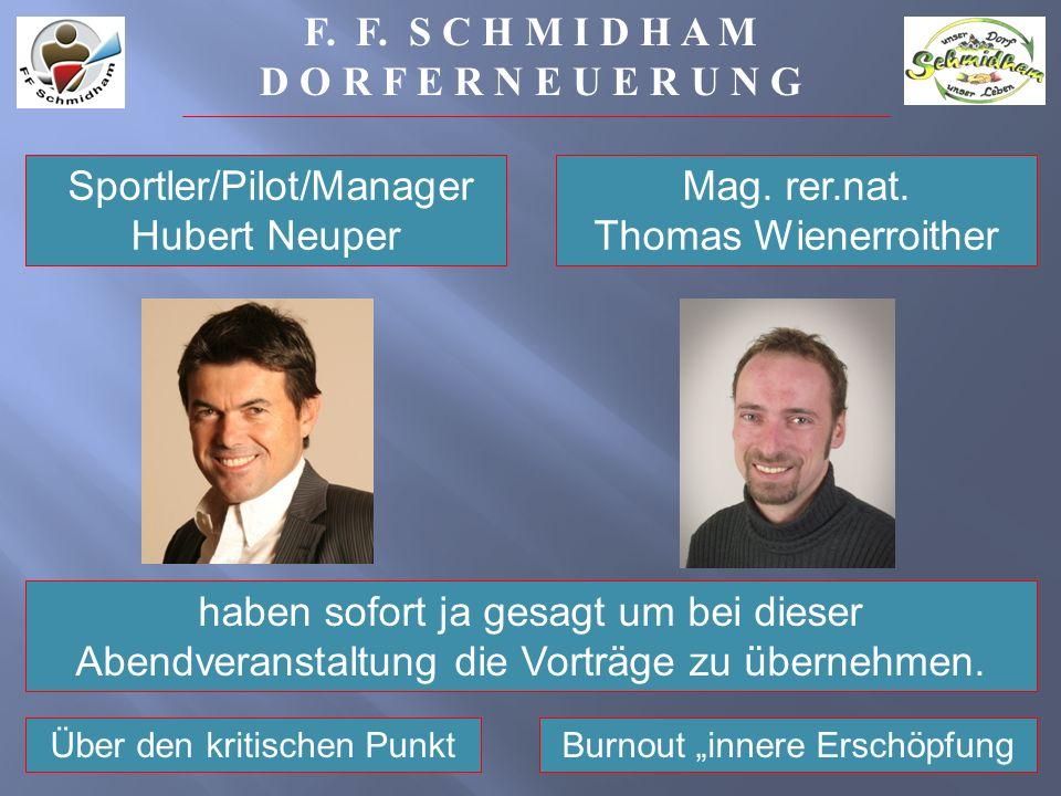 Sportler/Pilot/Manager Hubert Neuper haben sofort ja gesagt um bei dieser Abendveranstaltung die Vorträge zu übernehmen.
