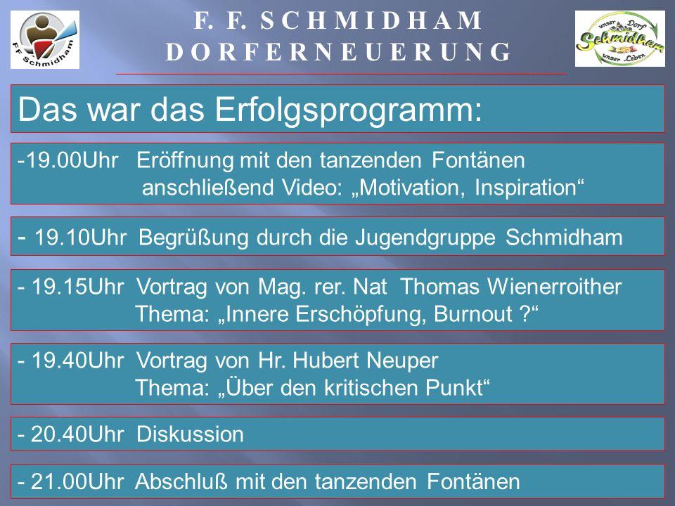 Das war das Erfolgsprogramm: - 19.10Uhr Begrüßung durch die Jugendgruppe Schmidham - 19.15Uhr Vortrag von Mag.
