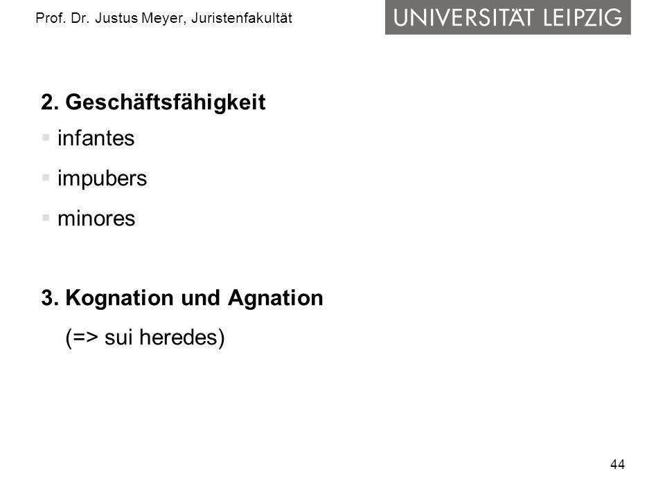 44 Prof.Dr. Justus Meyer, Juristenfakultät 2. Geschäftsfähigkeit infantes impubers minores 3.