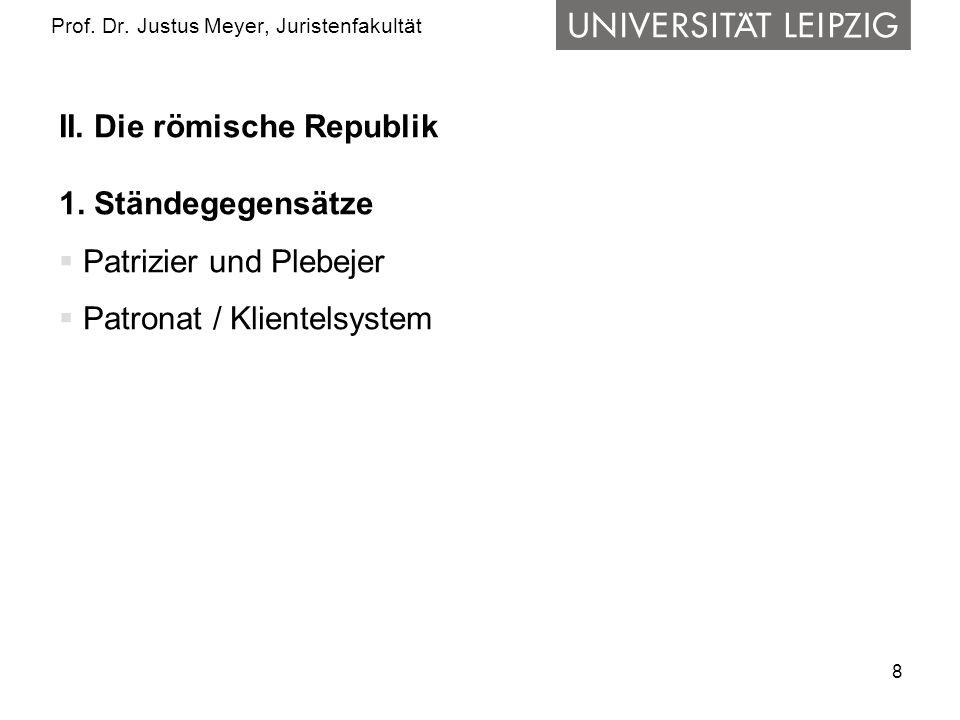 8 Prof.Dr. Justus Meyer, Juristenfakultät II. Die römische Republik 1.
