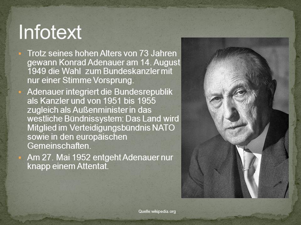 Trotz seines hohen Alters von 73 Jahren gewann Konrad Adenauer am 14. August 1949 die Wahl zum Bundeskanzler mit nur einer Stimme Vorsprung. Adenauer