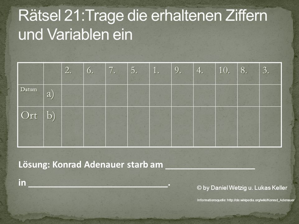 2.6.7.5.1.9.4.10.8.3.Datuma) Ortb) © by Daniel Wetzig u. Lukas Keller Informationsquelle: http://de.wikipedia.org/wiki/Konrad_Adenauer Lösung: Konrad