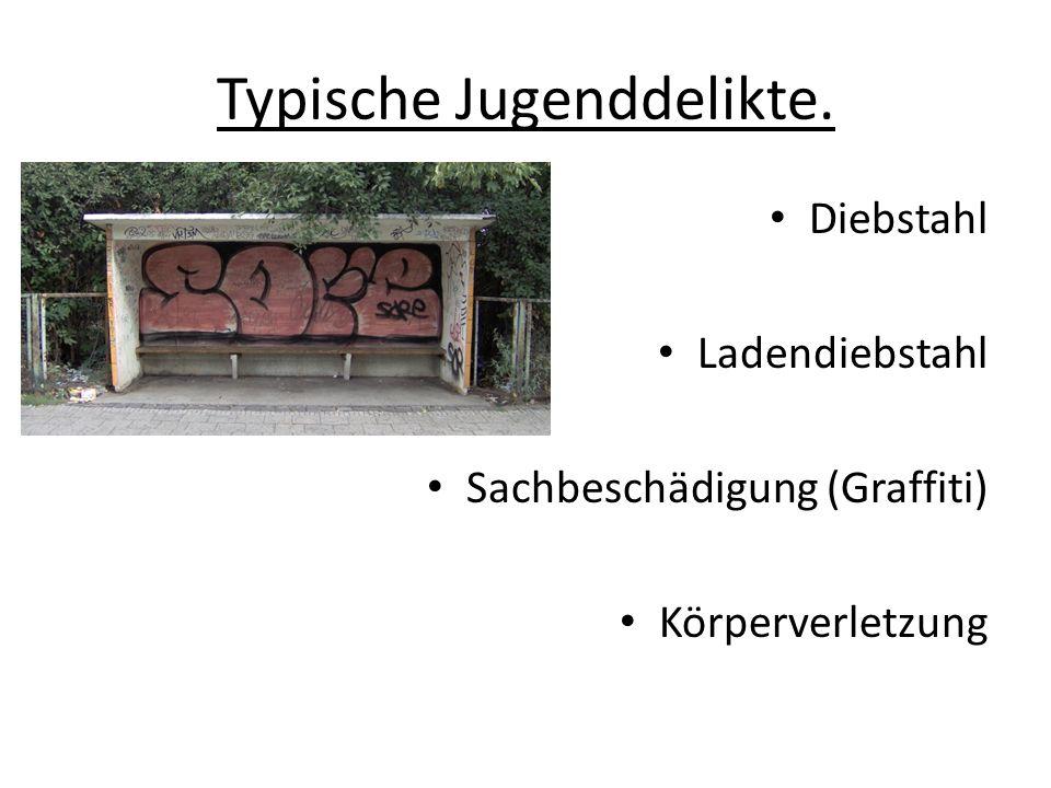 Typische Jugenddelikte. Diebstahl Ladendiebstahl Sachbeschädigung (Graffiti) Körperverletzung