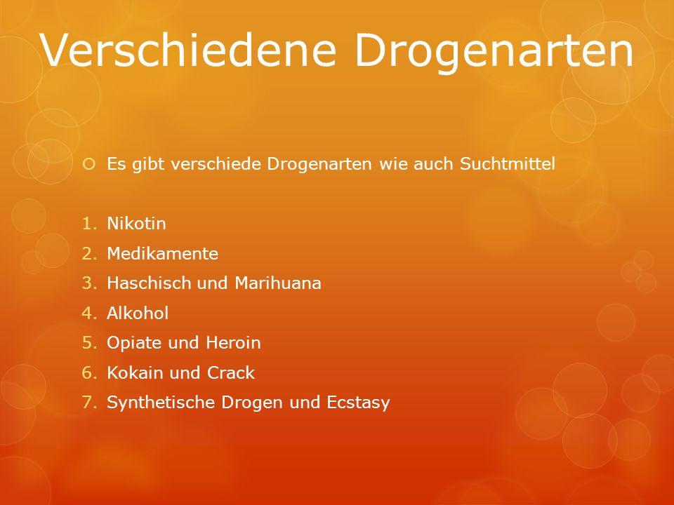 Verschiedene Drogenarten Es gibt verschiede Drogenarten wie auch Suchtmittel 1.Nikotin 2.Medikamente 3.Haschisch und Marihuana 4.Alkohol 5.Opiate und