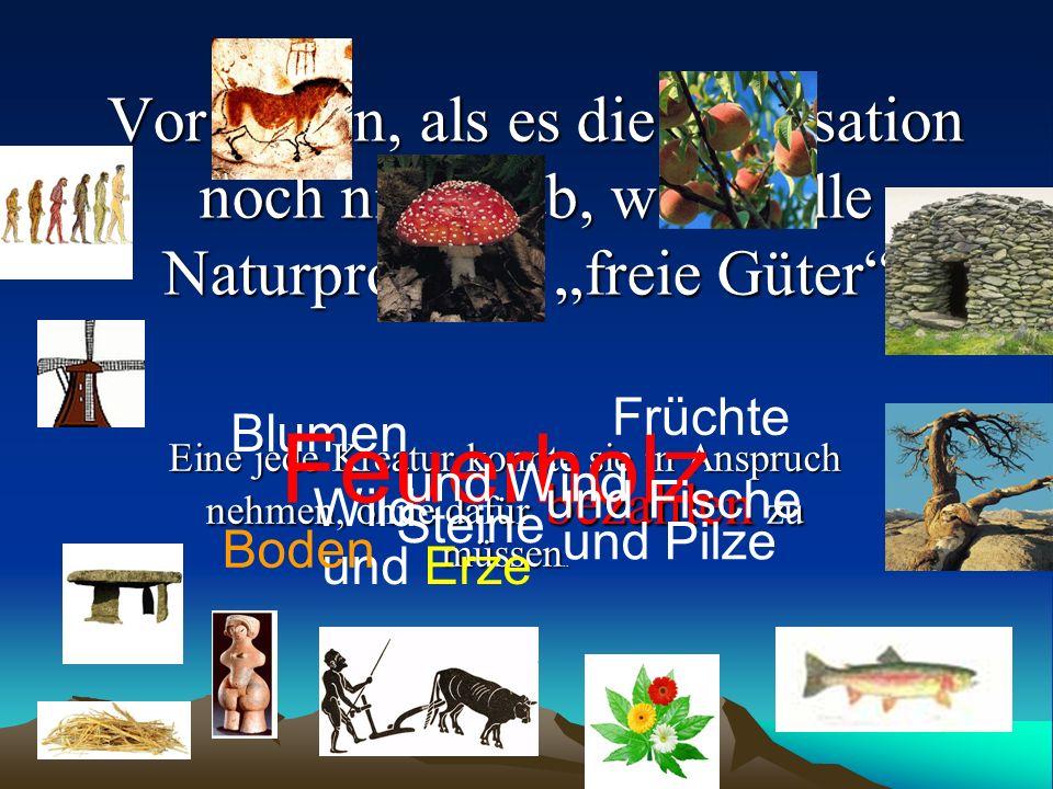 Vor Zeiten, als es die Zivilisation noch nicht gab, waren alle Naturprodukte freie Güter. Eine jede Kreatur konnte sie in Anspruch nehmen, ohne dafür