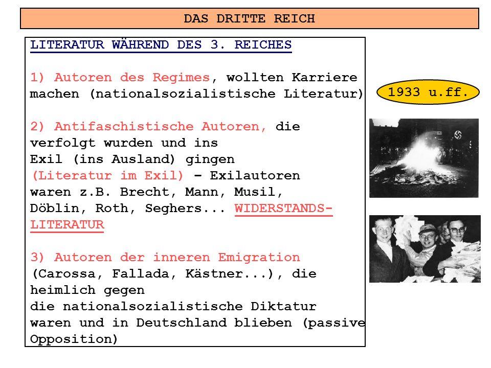 DAS DRITTE REICH LITERATUR WÄHREND DES 3. REICHES 1)Autoren des Regimes, wollten Karriere machen (nationalsozialistische Literatur) 2) Antifaschistisc