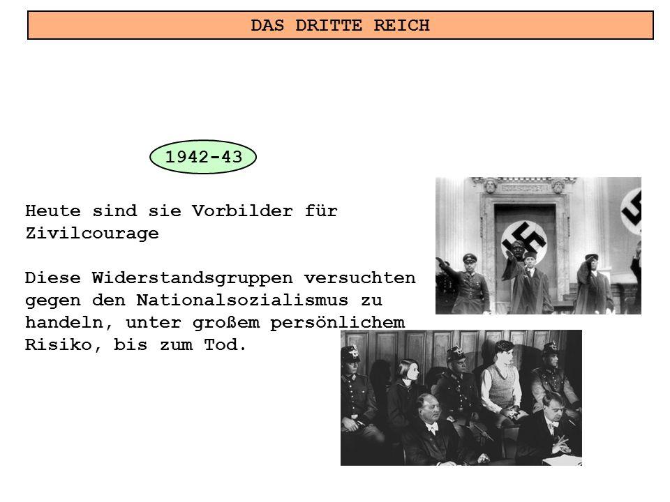 DAS DRITTE REICH Heute sind sie Vorbilder für Zivilcourage Diese Widerstandsgruppen versuchten gegen den Nationalsozialismus zu handeln, unter großem persönlichem Risiko, bis zum Tod.