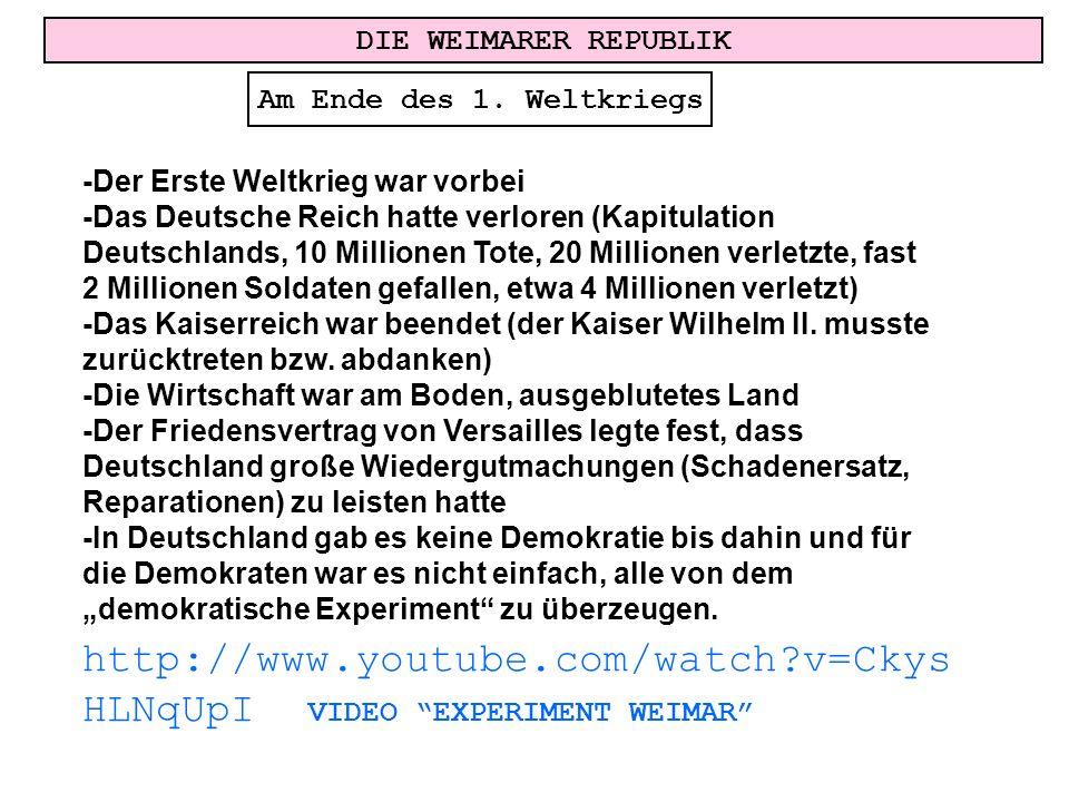 DIE WEIMARER REPUBLIK Am Ende des 1. Weltkriegs -Der Erste Weltkrieg war vorbei -Das Deutsche Reich hatte verloren (Kapitulation Deutschlands, 10 Mill