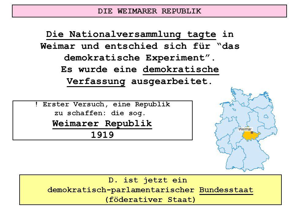DIE WEIMARER REPUBLIK ! Erster Versuch, eine Republik zu schaffen: die sog. Weimarer Republik 1919 Die Nationalversammlung tagte in Weimar und entschi