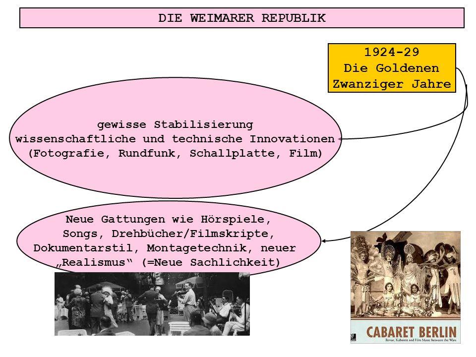 DIE WEIMARER REPUBLIK gewisse Stabilisierung wissenschaftliche und technische Innovationen (Fotografie, Rundfunk, Schallplatte, Film) Neue Gattungen w