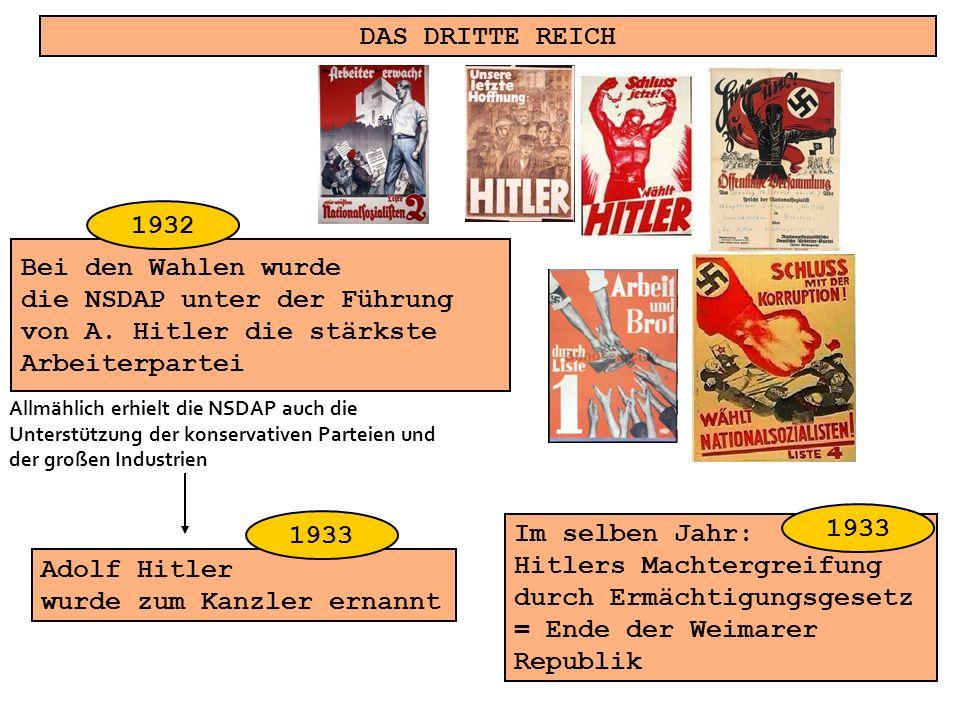 DAS DRITTE REICH Bei den Wahlen wurde die NSDAP unter der Führung von A. Hitler die stärkste Arbeiterpartei Adolf Hitler wurde zum Kanzler ernannt Im
