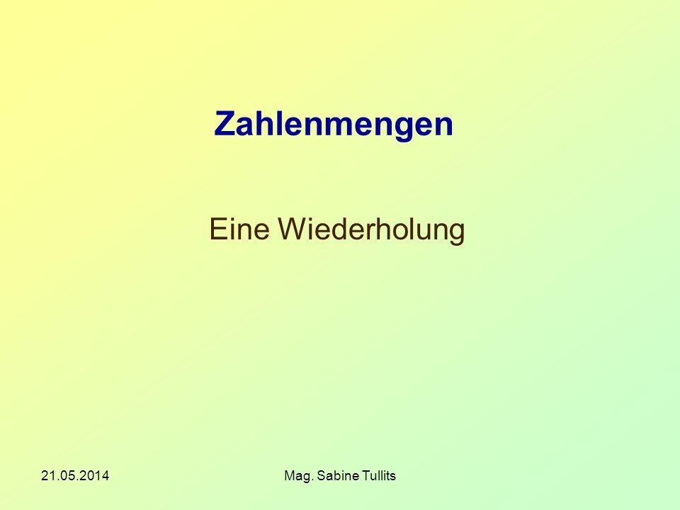 21.05.2014Mag. Sabine Tullits Zahlenmengen Eine Wiederholung
