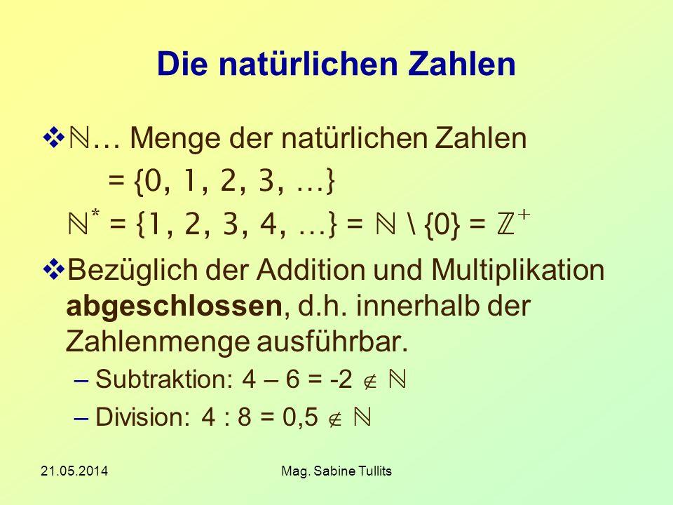 21.05.2014Mag. Sabine Tullits Die natürlichen Zahlen … Menge der natürlichen Zahlen = { 0, 1, 2, 3, …} * = {1, 2, 3, 4, …} = \ {0} = + Bezüglich der A