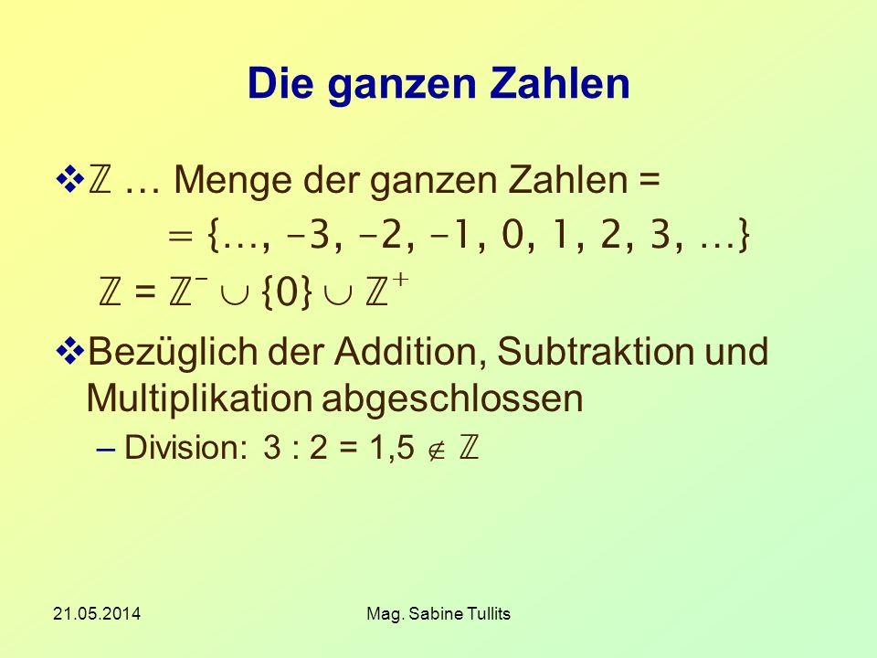 21.05.2014Mag. Sabine Tullits Die ganzen Zahlen … Menge der ganzen Zahlen = = {…, -3, -2, -1, 0, 1, 2, 3, …} = - {0} + Bezüglich der Addition, Subtrak