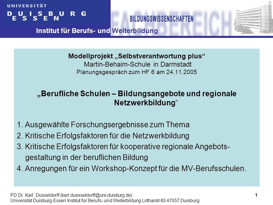 Institut für Berufs- und Weiterbildung 1PD Dr.
