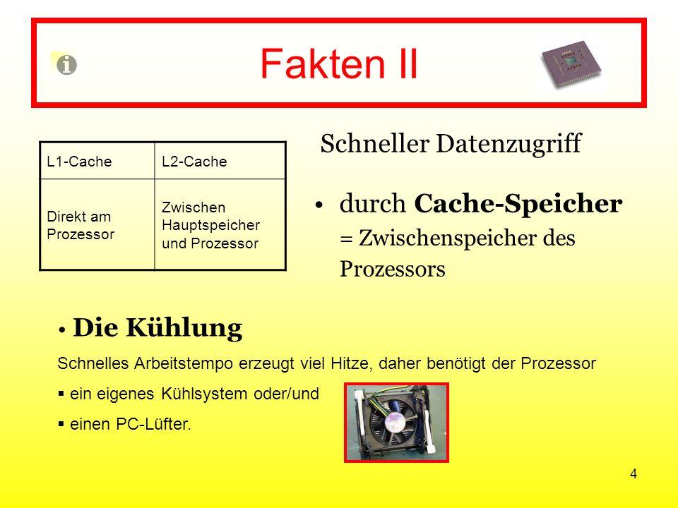 4 Fakten II Schneller Datenzugriff durch Cache-Speicher = Zwischenspeicher des Prozessors L1-CacheL2-Cache Direkt am Prozessor Zwischen Hauptspeicher