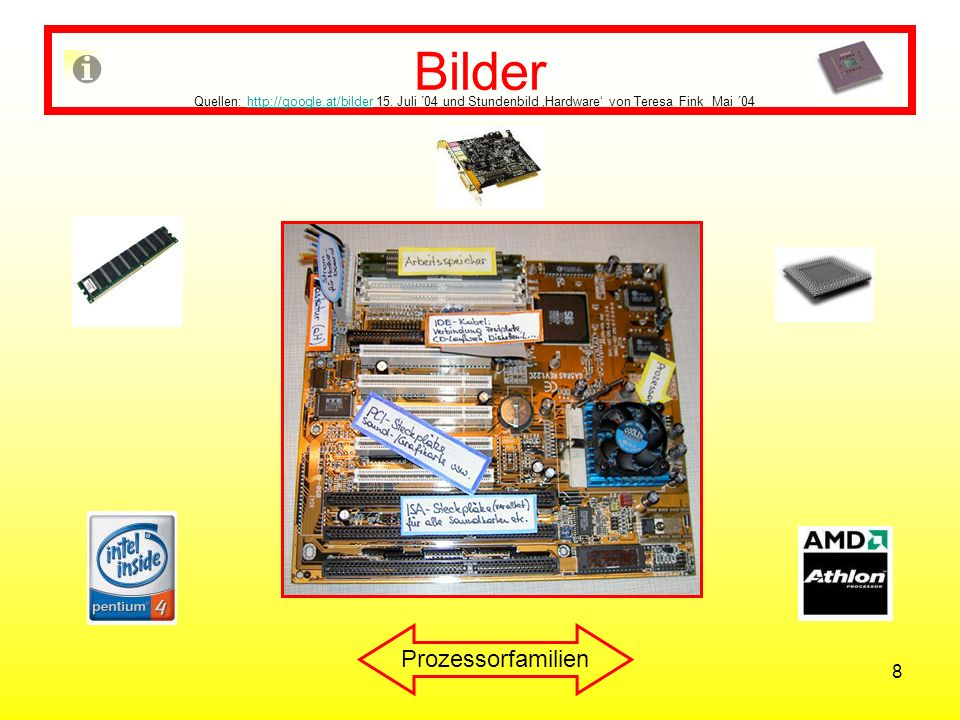 8 Bilder Quellen: http://google.at/bilder 15. Juli ´04 und Stundenbild Hardware von Teresa Fink Mai ´04http://google.at/bilder Prozessorfamilien