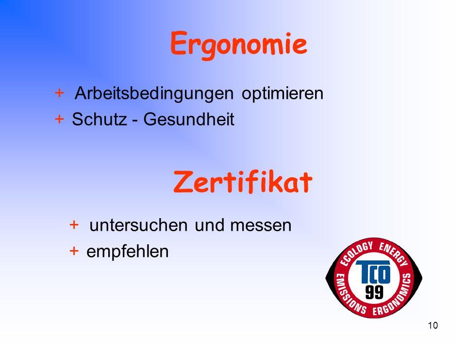 10 Ergonomie + Arbeitsbedingungen optimieren +Schutz - Gesundheit Zertifikat + untersuchen und messen +empfehlen