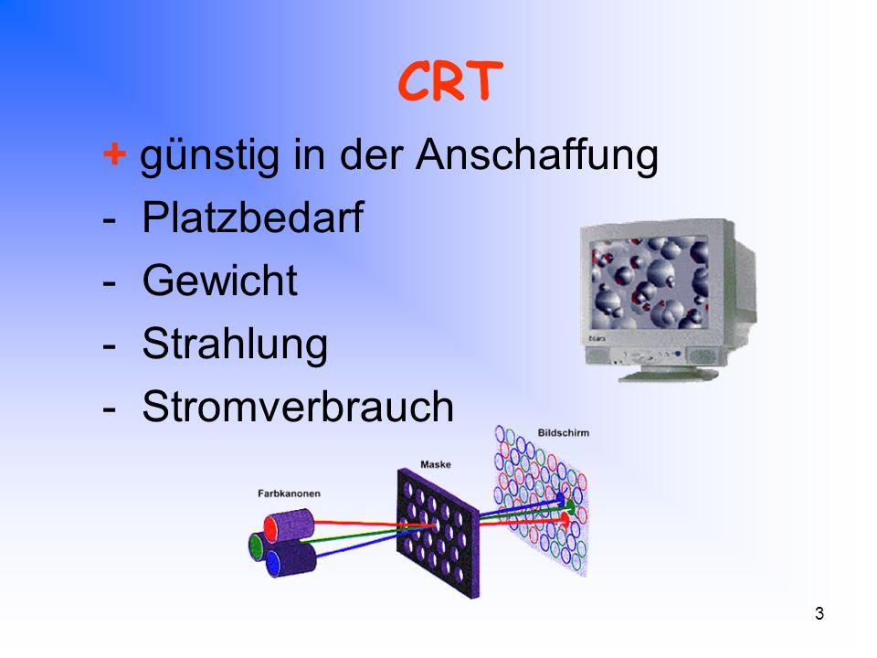 3 CRT + günstig in der Anschaffung - Platzbedarf - Gewicht - Strahlung - Stromverbrauch