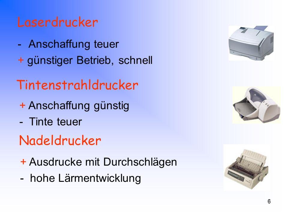 7 Kriterien beim Kauf - Monitor Bildschirmgröße Auflösung - Farbtiefe Bildwiederholfrequenz Lochmaskenabstand Blickwinkel Reaktionszeit Helligkeit Kontrast 17 (Zoll) 1280 x 1024 Pixel - bit 70 Hz 0,26 mm 140 °/140 ° 16 ms 260 cd/m² 450 : 1