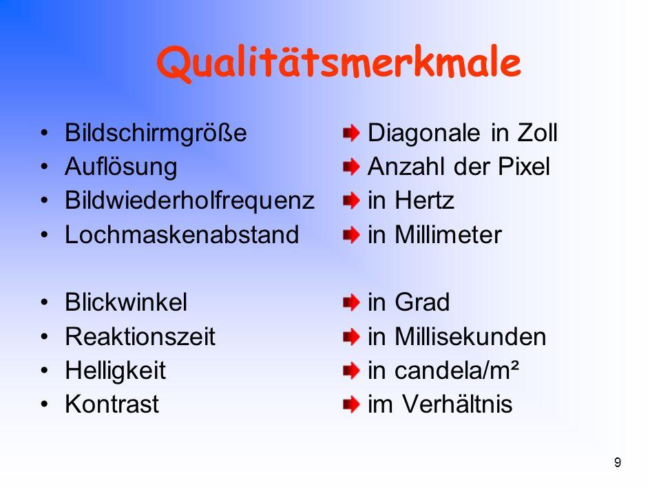 9 Qualitätsmerkmale Bildschirmgröße Auflösung Bildwiederholfrequenz Lochmaskenabstand Blickwinkel Reaktionszeit Helligkeit Kontrast Diagonale in Zoll