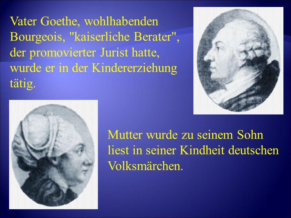 Goethe erhielt ausgezeichnete Versorgung und Bildung.