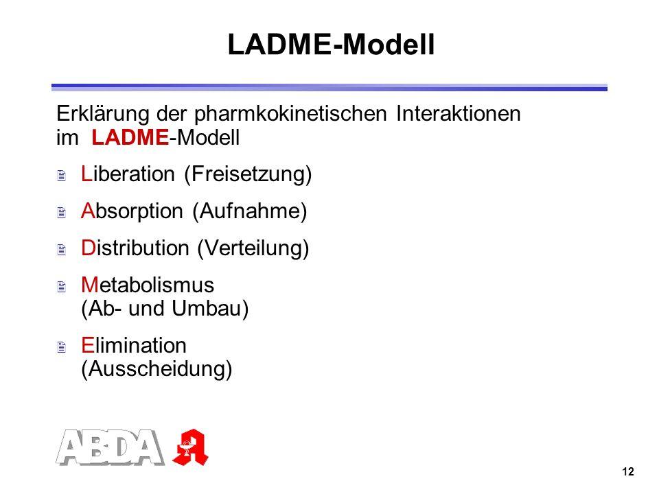 12 LADME-Modell 2 Liberation (Freisetzung) 2 Absorption (Aufnahme) 2 Distribution (Verteilung) 2 Metabolismus (Ab- und Umbau) 2 Elimination (Ausscheid