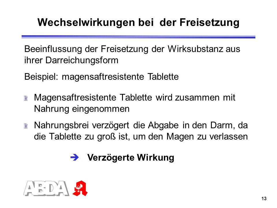 13 Wechselwirkungen bei der Freisetzung 2 Magensaftresistente Tablette wird zusammen mit Nahrung eingenommen 2 Nahrungsbrei verzögert die Abgabe in de