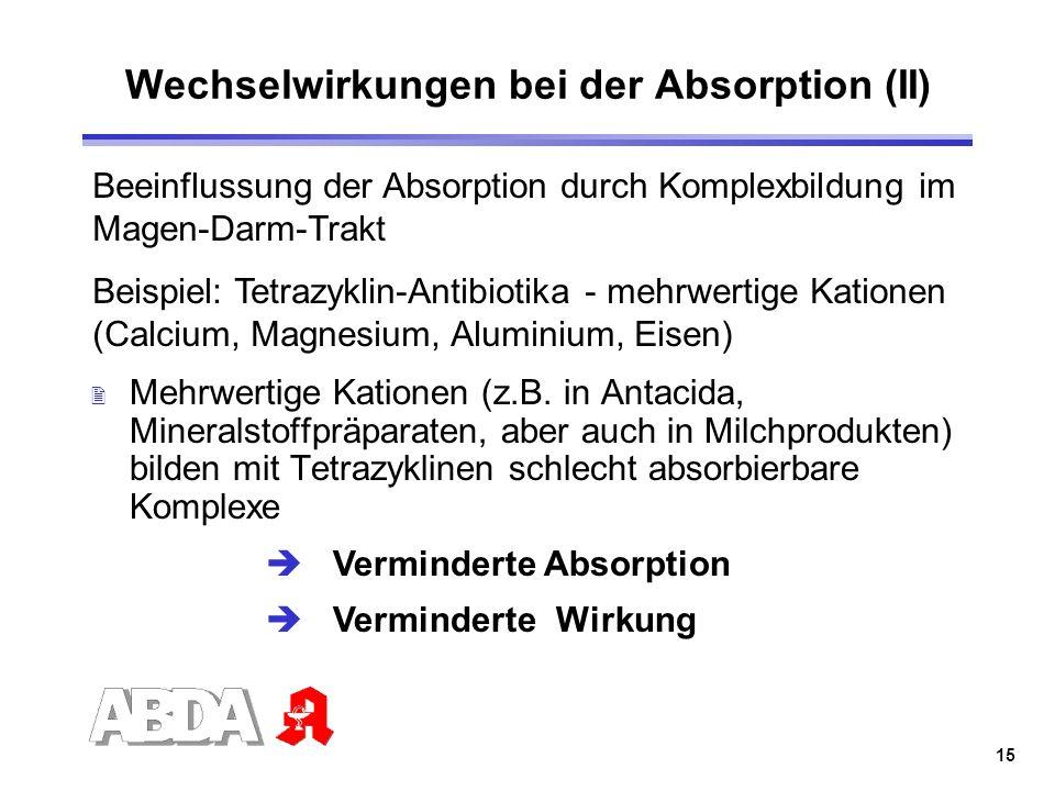 15 Wechselwirkungen bei der Absorption (II) 2 Mehrwertige Kationen (z.B. in Antacida, Mineralstoffpräparaten, aber auch in Milchprodukten) bilden mit