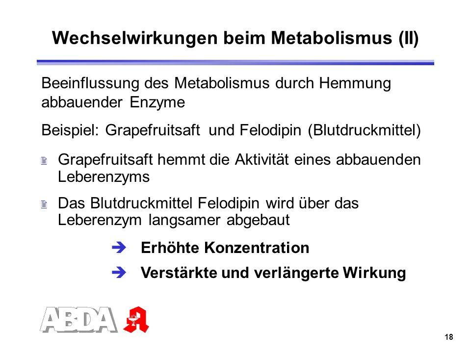 18 Wechselwirkungen beim Metabolismus (II) 2 Grapefruitsaft hemmt die Aktivität eines abbauenden Leberenzyms 2 Das Blutdruckmittel Felodipin wird über