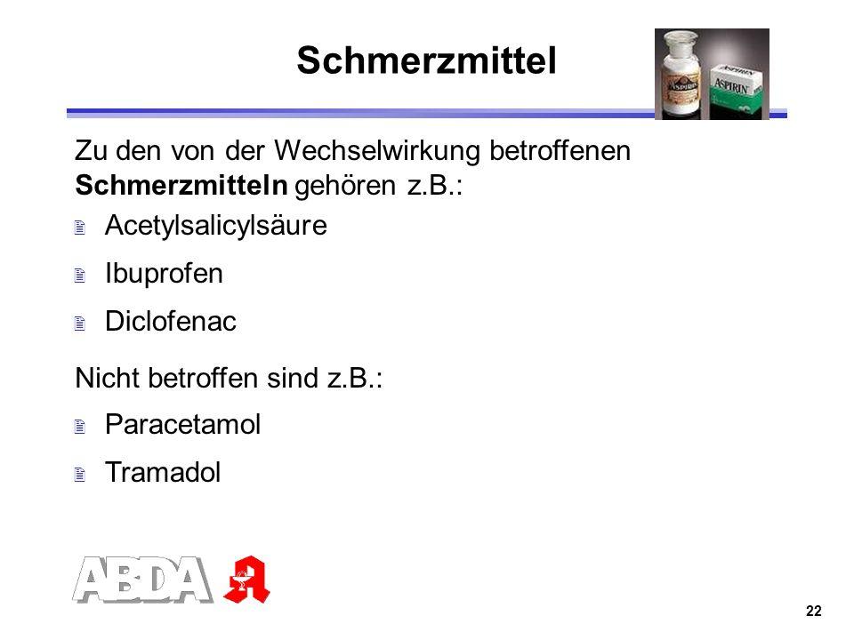 22 Schmerzmittel Zu den von der Wechselwirkung betroffenen Schmerzmitteln gehören z.B.: 2 Acetylsalicylsäure 2 Ibuprofen 2 Diclofenac Nicht betroffen